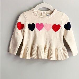 Baby Gap Heart Peplum Sweater